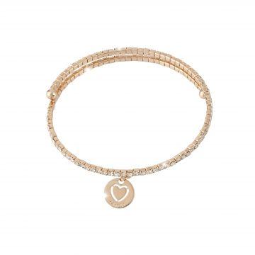 Bracciale a molla in bronzo con cristalli e charm cuore inciso