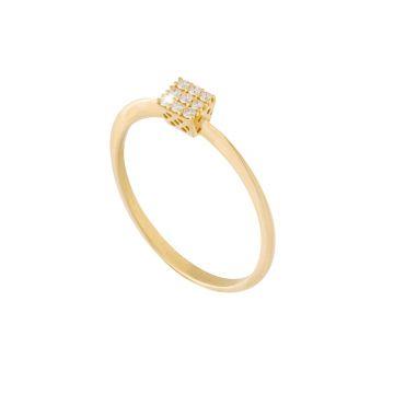 Anello Carrè Solitaire in oro 18kt e diamanti
