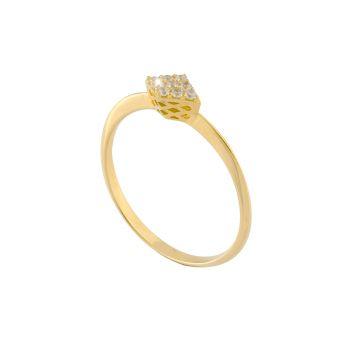 Anello Matelassè Solitaire in oro 18kt e diamanti
