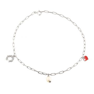 """Anklet """"Flower Power"""" with flowers with crystals, natural pearls and enameled charms - Happiness"""