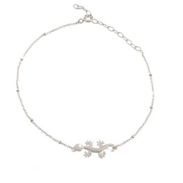 Anklet with gecko with crystals - Resilience and luck