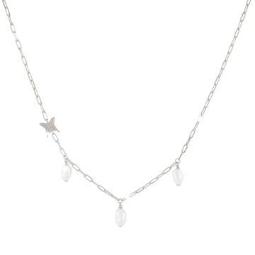 Girocollo Butterfly in argento con farfalla e tre perle naturali pendenti