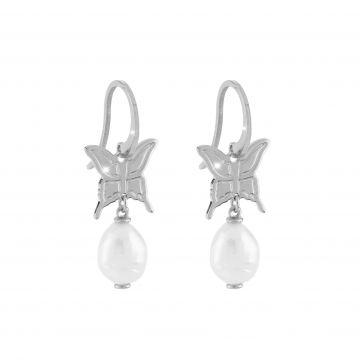 Orecchino Butterfly in argento con farfalla e perla naturale pendenti