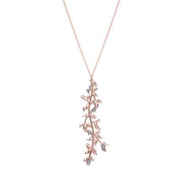Collana Jolie in argento con pendente di foglie di ulivo rivestite in polvere di diamanti