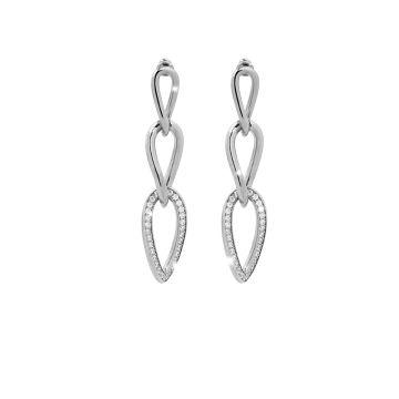 Orecchini in argento con tre maglie e pietre