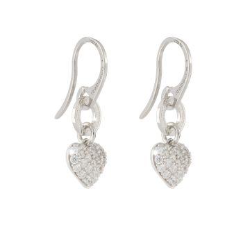 Orecchini in argento con cuori pendenti di cristalli