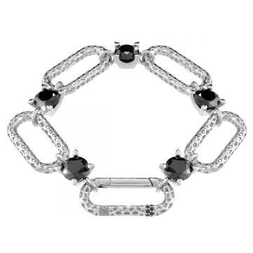 Bracciale Jolie a catena maglia grande e pietre nere in argento a lavorazione traforata