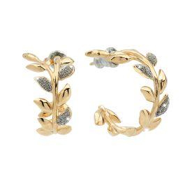 Orecchini Jolie in argento a cerchio con foglie di ulivo rivestite di polvere di diamanti