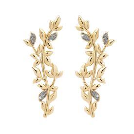 Orecchini Jolie in argento con pendente di foglie di ulivo rivestite di polvere di diamanti